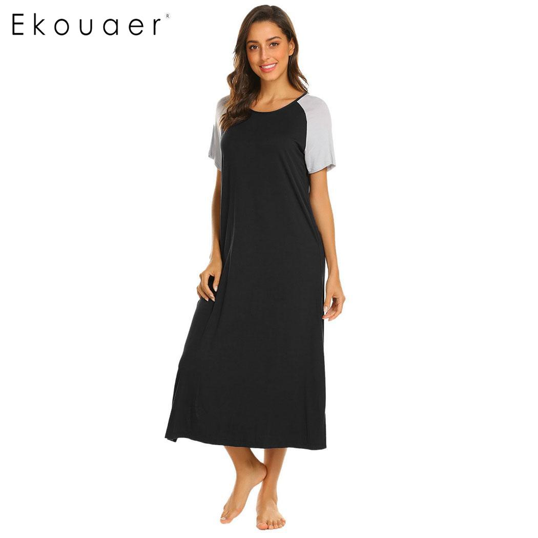 Ekouaer Long Nightgown Sleepshirts Women Casual Patchwork Round Neck Short Sleeve Nightdress Nightwear Home Lounge Night Dress