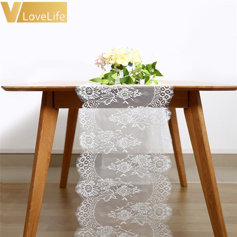 Thanksgiving Christmas Baby Bridal Shower Party Decorations 5 Pieces White Lace Table Runner 14 X 120 inches with Rose Embroidered for Rustic Elegant Wedding Reception Outdoor Garden Home Decor