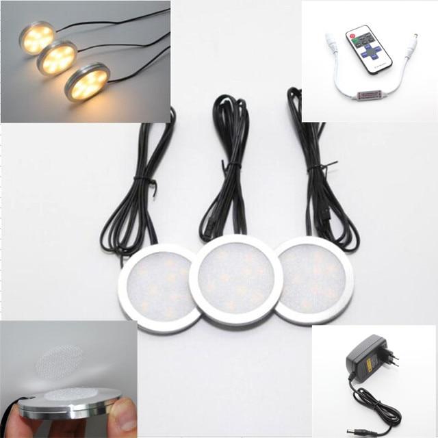 Inalámbrico LED debajo del Gabinete Puck luces downlight dimmable y ...