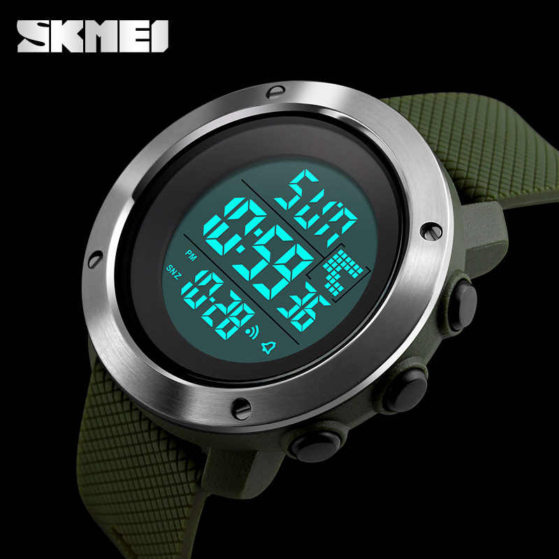 SKMEI New Fashion Sports Watches Stainless Steel Case Men Digital Clock Men Military Army Waterproof LED Electronic Wristwatches