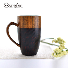 1 Piece Premium Wood Cups with Handle Red/Black Color 320ml Hand-made Wood Coffee Mug Tea/Juice/Water Cups Wooden Drinkware Gift