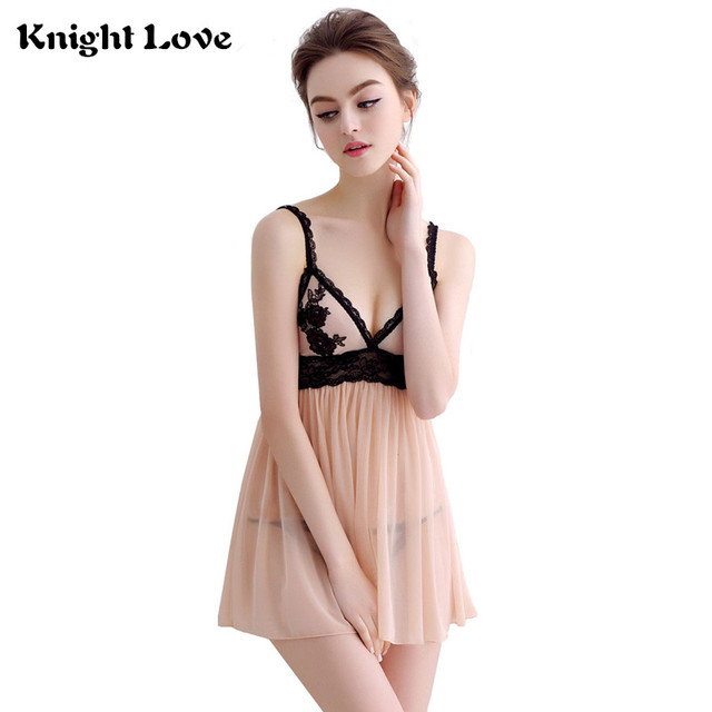 266afb0805 Womens Sexy Nightwear Spaghetti Strap Nightgown Mini Lace Sleep shirts  Female See-Through Women Sleepwear Night Dress Plus Size
