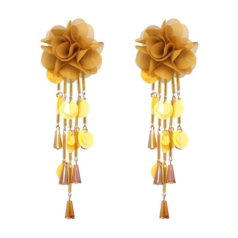JUJIA Bohemian Long Flower Earrings Pom Pom Big Statement Earrings Fringe Drop Earrings Women Jewelry 24