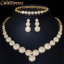 CWWZircons 3 Pcs Hoge Kwaliteit Kubieke Zirkoon Dubai Gouden Ketting Sieraden Set voor Vrouwen Wedding Avond Party Dress Accessoires T349