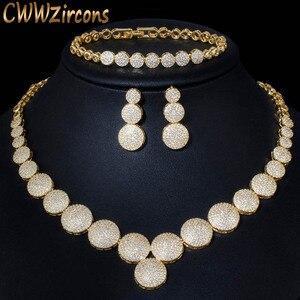 Image 1 - CWWZircons 3 Pcs Hohe Qualität Cubic Zirkon Dubai Gold Halskette Schmuck Set für Frauen Hochzeit Abend Party Kleid Zubehör T349