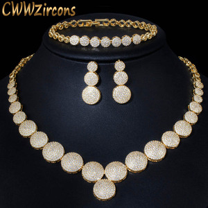 Image 1 - CWWZircons 3Pcs High Quality Cubic Zircon Dubai Gold Necklace Jewelry Set for Women Wedding Evening Party Dress Accessories T349