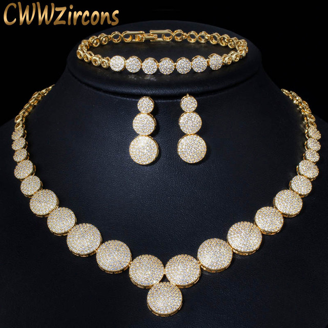 CWWZircons 3Pcs High Quality Cubic Zircon Dubai Gold Necklace Jewelry Set for Women Wedding Evening Party Dress Accessories T349