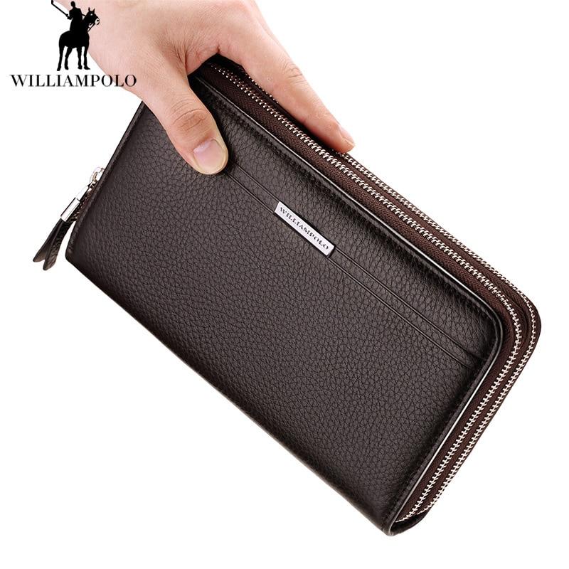 Leder Münzen Echtem Männlichen Vintage Bag Black brown Doppel Clutch Phone Neue Marke reißverschluss Geldbörsen Aus Tasche Feste Brieftasche Herren 2018 Cases 8fw0x