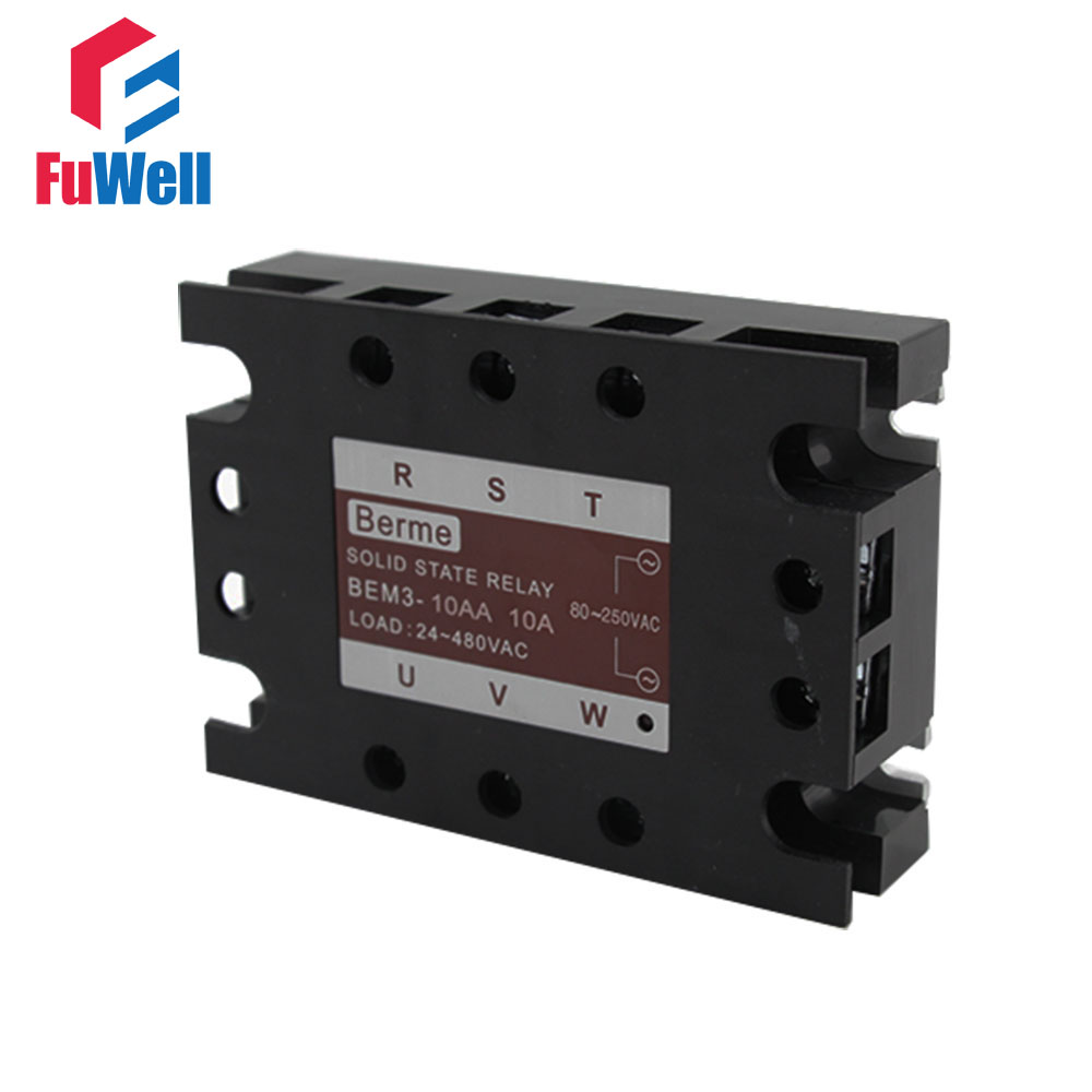 3-phase Solid State Relay SSR AC-AC 10AA Input 80-250V AC Load 24-480V AC ssr 10aa solid state relay 90 280v ac to 24 480v ac rele de estado solido 10a low power sealed no noise ks1 10aa