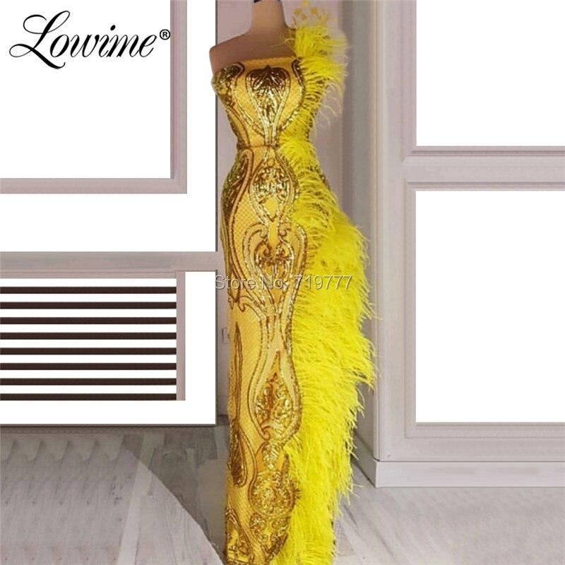 Yellow Feather Arabic Evening Dresses 2019 New Arrival Strapless Long Prom Dress Abiye Gece Elbisesi Dubai Turkish Party Gowns