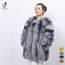 High quality luxury winter coat whole pelt design natural fur silver fox coat for women