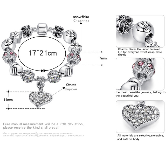 ELESHE Luxury Brand Women Bracelet 925 Unique Silver Crystal Charm Bracelet for Women DIY Beads Bracelets & Bangles Jewelry Gift 2