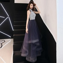 Vestidos De Gala Purple Sequins Bling Hatler Neck A-line Dresses Women Party Night Custom Plus Size Long 2019 Prom Dresses  E442 purple sequins embellished lacerna scoop neck dresses