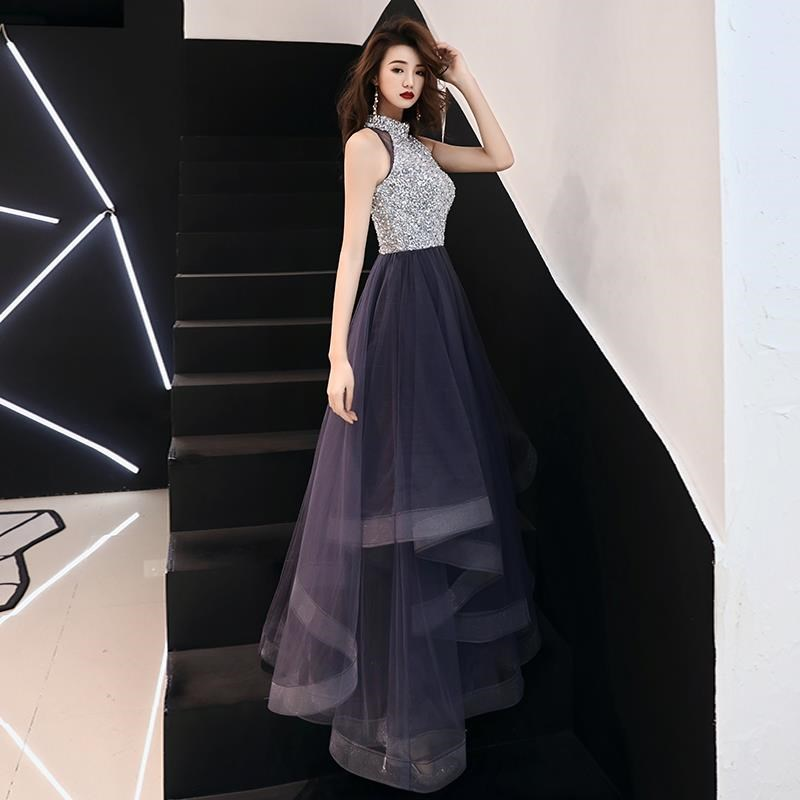 Vestidos De Gala Purple Sequins Bling Hatler Neck A-line   Dresses   Women Party Night Custom Plus Size Long 2019   Prom     Dresses   E442