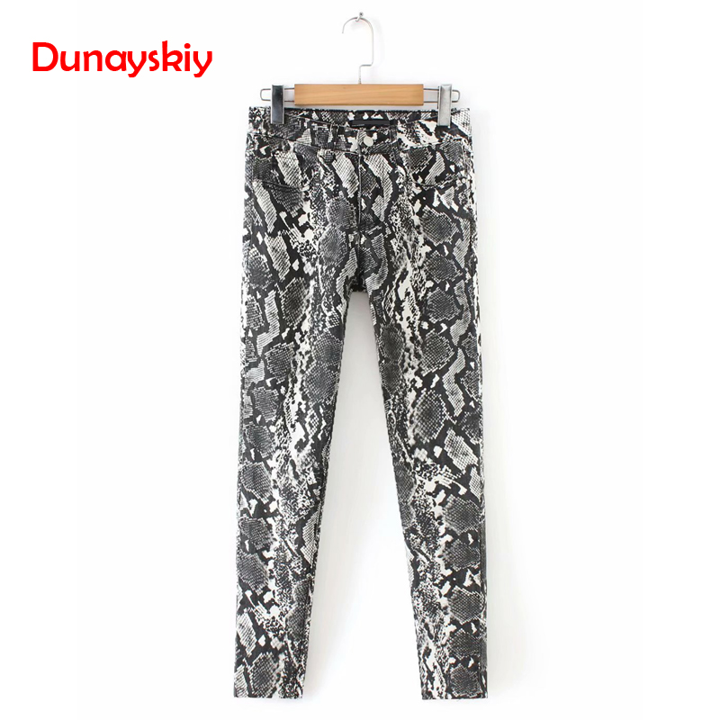 Women Snake Print Denim Skinny   Jeans   Animal Pattern Pockets Stretchy Pencil Pants Female Chic Trousers New 2019 Spring Autumn