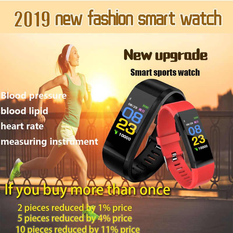 2019 New Đồng Hồ Thông Minh Người Đàn Ông Phụ Nữ Tim Tỷ Lệ Màn Hình Huyết Áp Tập Thể Dục Tracker đồng hồ kỹ thuật số Đồng Hồ Thể Thao cho ios android + HỘP