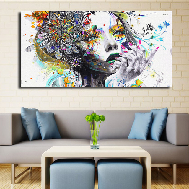 moderne psychedelic m dchen kunst wand poster abstrakt modulare malerei aquarell leinwand. Black Bedroom Furniture Sets. Home Design Ideas