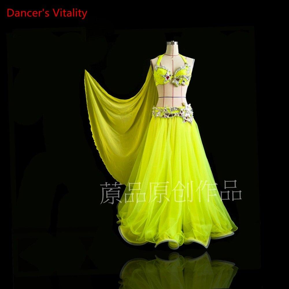 Women Belly Dance Luxury  Bra+Skirt+Belt+Fancy Rarn 4pcs Belly Dance Competition Set Professional Custom Made Clothes