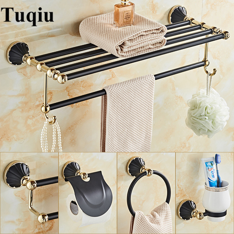 New Arrivals Gold and Black Bathroom Accessories Set,Paper Holder,Towel Bar,Toilet Brush Holder,towel rack bathroom Hardware set new arrivals wall mounted towel rack gold towel bar european style towel holder bathroom accessories