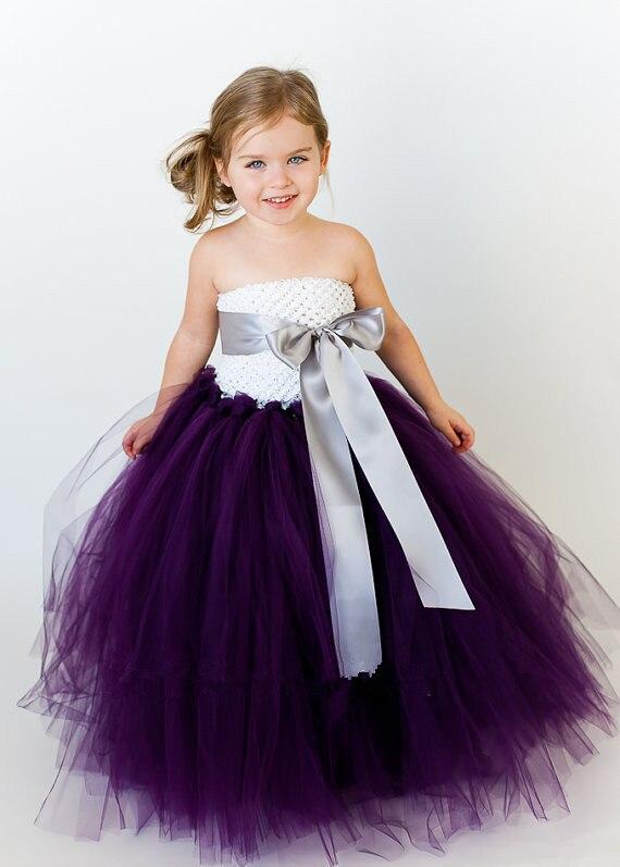 358135de57c2f Gelinlik kabarık balo prenses doğum günü mor tutu tül bebek çiçek kız düğün  elbisesi akşam balo kumaş parti elbiseler