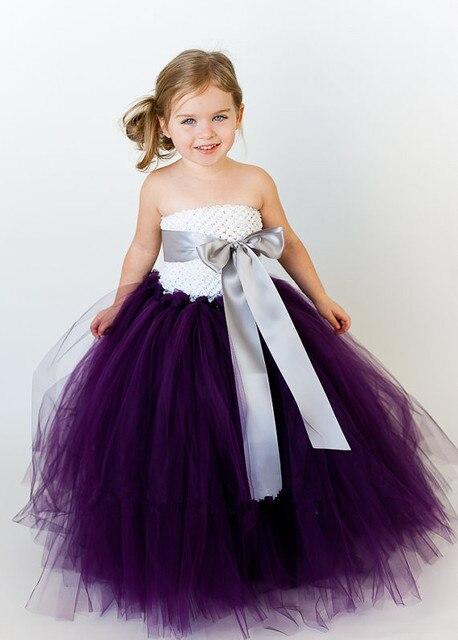12e98590452 bridesmaid fluffy ball gown princess birthday purple tutu tulle baby flower  girl wedding dress evening prom cloth party dresses