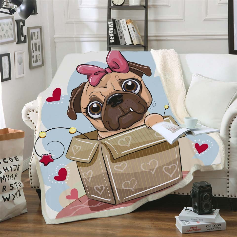 Cute Pug Plush Throw Blanket Pink Bow Box Love Printed Sherpa Fleece Bed Blanket Sofa Manta Puppy Bulldog Shepherd Bedspread Koc in Blankets from Home Garden