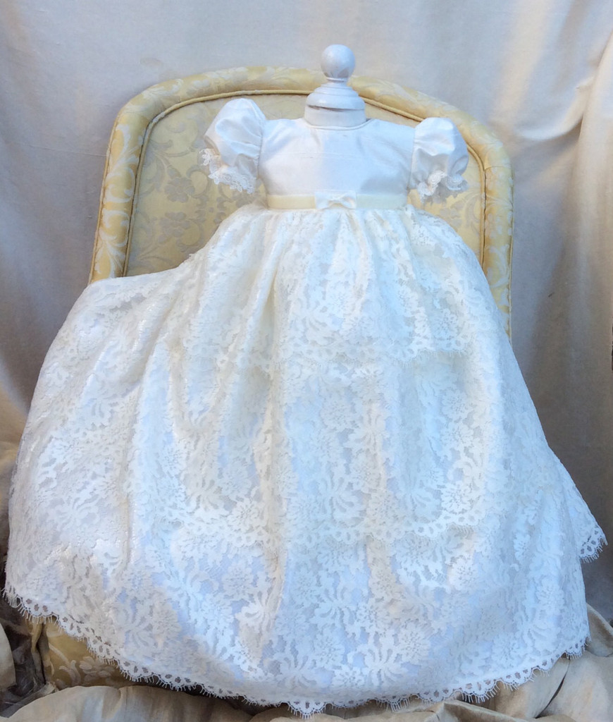 New Enchanting Baby Girl Baptism Gown Christening Dress Robe Flower Lace Applique Baby Boy&Girl 0-24month WITH BONNET