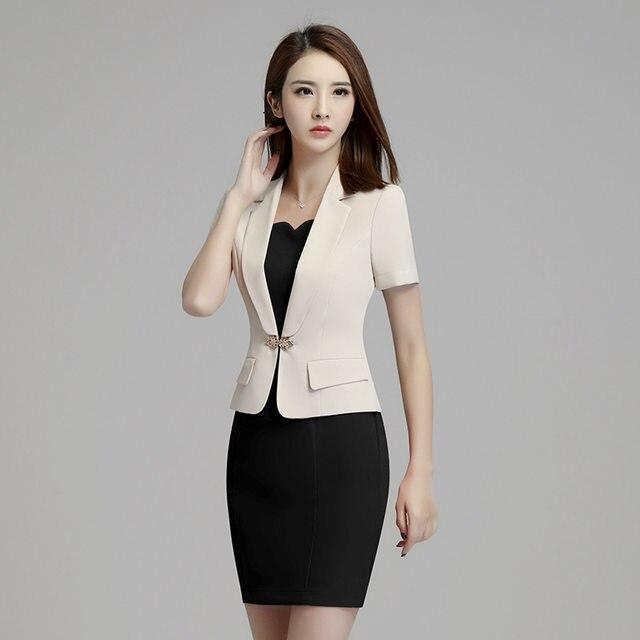 Beau Fmasuth Women Summer Blazer Dress Suits Elegant Short Sleeve Blazer And  Short Sleeve Dress Ladies Office Suit Set Ow0302