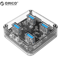 ORICO MH4U 4 Ports USB3 0 Transparen HUB With Rubber Anti Skid Pad Reserced External Power