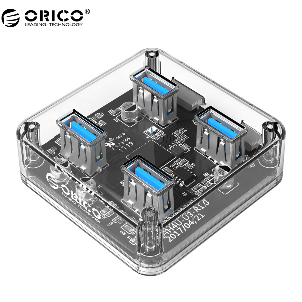 ORICO MH4U 4 Ports USB3.0 Transparent Desktop HUB With Rubber Anti-skid Pad Reserced External Power Supply orico usb hub 20 usb ports industrial usb2 0 hub usb splitter with 2 models data transmission ih20p