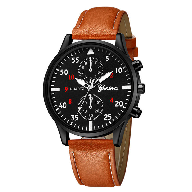 Top Brand Watches Men Geneva Military Leather Band Ultra Thin Wrist Watches Male Army Outdoor Quartz Sport Watches Reloj Hombre
