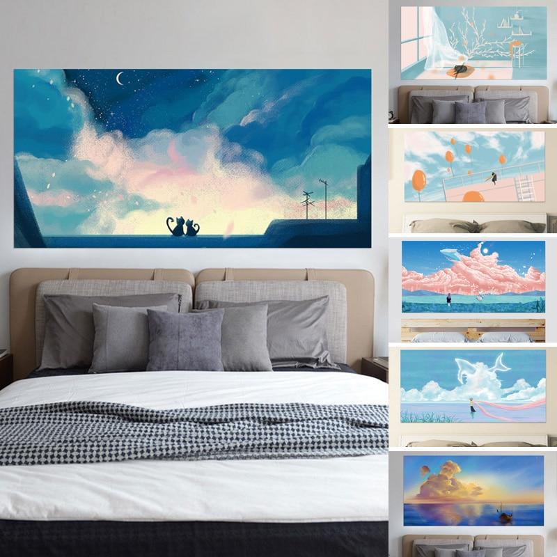 3D Hoofdeinde Sticker Sky Girl River Beach Love Under the Stars - Huisdecoratie