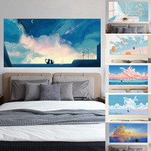 3D Headboard Sticker Sky Girl River Beach Love Under the Stars Campus Roof Window Cat Home Decoration Paper Mural Paste 90x180cm