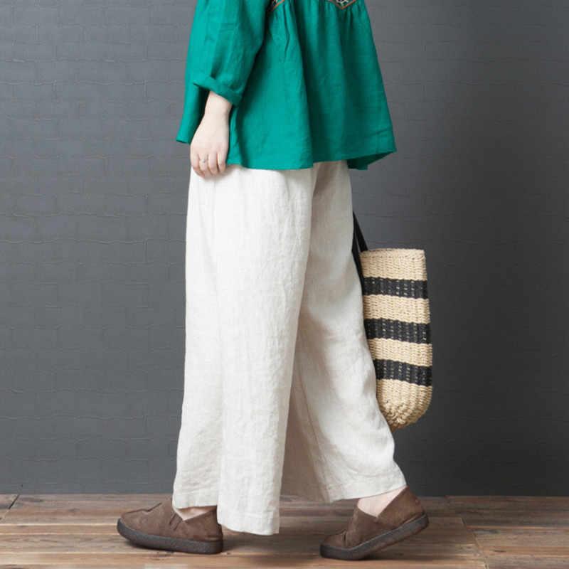 Johnature yeni pamuk rahat katı kore versiyonu artı boyutu geniş bacak kadın pantolon 2020 bahar elastik bel uzun kadın pantolon