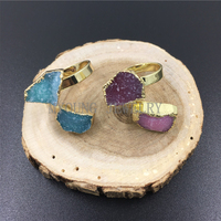 MY0980 Freeform Blue or Pink Agates Druzy Adjustable Rings,Natural Stone Gold Bezel Rings for women