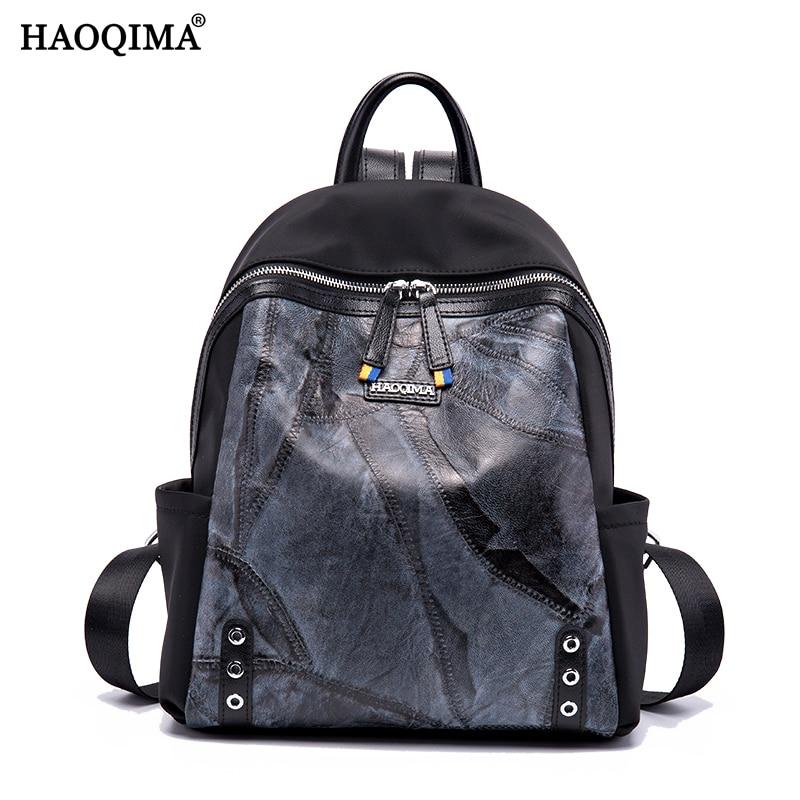 HAOQIMA Retro Classic High Quality Genuine Leather Backpacks Sheep+Oxford Cloth Women Backpack Shoulder School Notebook ipad Bag