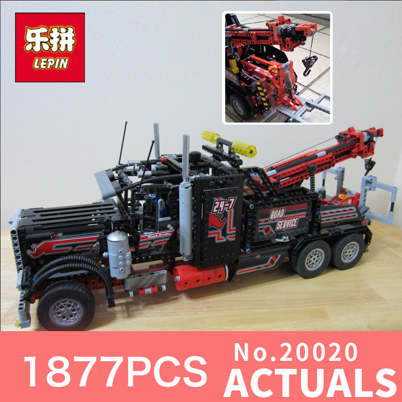 1877pcs Lepin 20020 Technic Series The Mechanical American Style Heavy Container Trucks Building Blcoks Bricks Toys 8285 lepin 20076 technic series the mack big