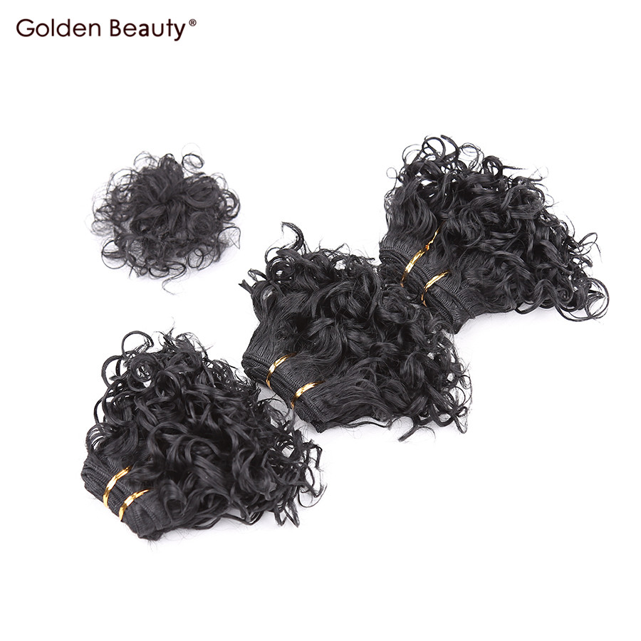 Compare prices on hair extensions very short hair online shopping golden beauty very short curly sew in hair extension synthetic hair bundles with closure weave for pmusecretfo Gallery