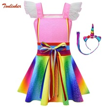 Rainbow Nancy Ruffle Sleeve Costumes With Headband Party Dress Up For Girls Toddler Kids Cute Lotus Leaf