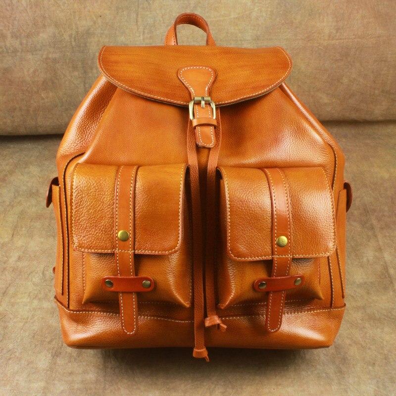 Nesitu High Quality Big Large Vintage Black Brown Vegetable Tanned Genuine Leather Women's Backpack Girl Female Travel Bag M6014