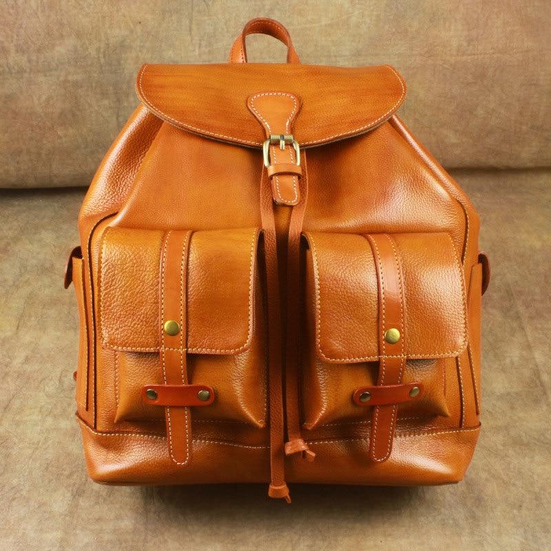 Nesitu Hohe Qualität Große Große Vintage Schwarz Braun Gemüse Gegerbtem Echtem Leder frauen Rucksack Mädchen Weibliche Reisetasche M6014