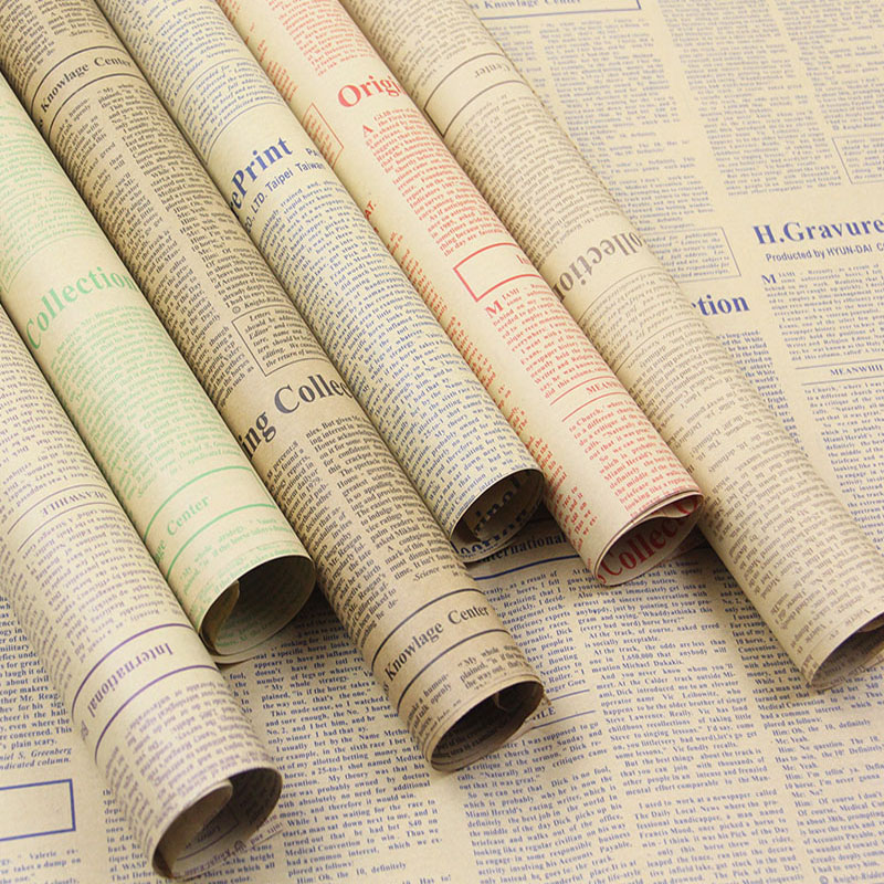20sheets Lot Gift Wrapping Paper Roll Vintage Newspaper