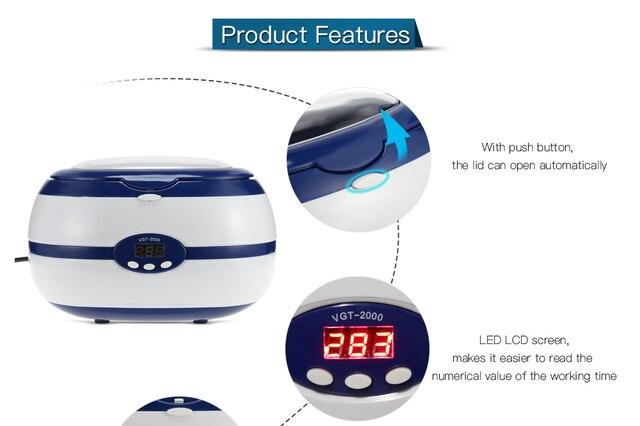 Mini nettoyeur à ultrasons numérique outils à ongles bijoux montres à lunettes Machine de nettoyage EU PLUG équipement à ongles avec 5 heures de travail