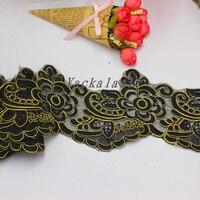 Lace Embroidery Applique Chiffon Gold Wedding Dress Skirt Veil Women S Clothing 12CM
