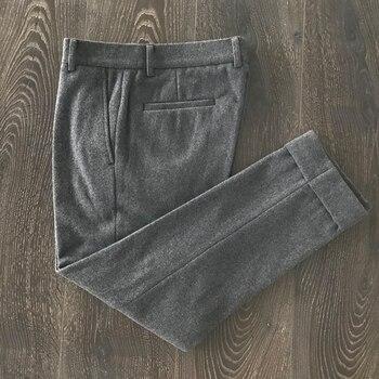 60% Wooleuropean Style Warm Autumn Men's Suit Pants Slim Fit Pencil Pants Thick Black Gray Male Woolen Trousers B4