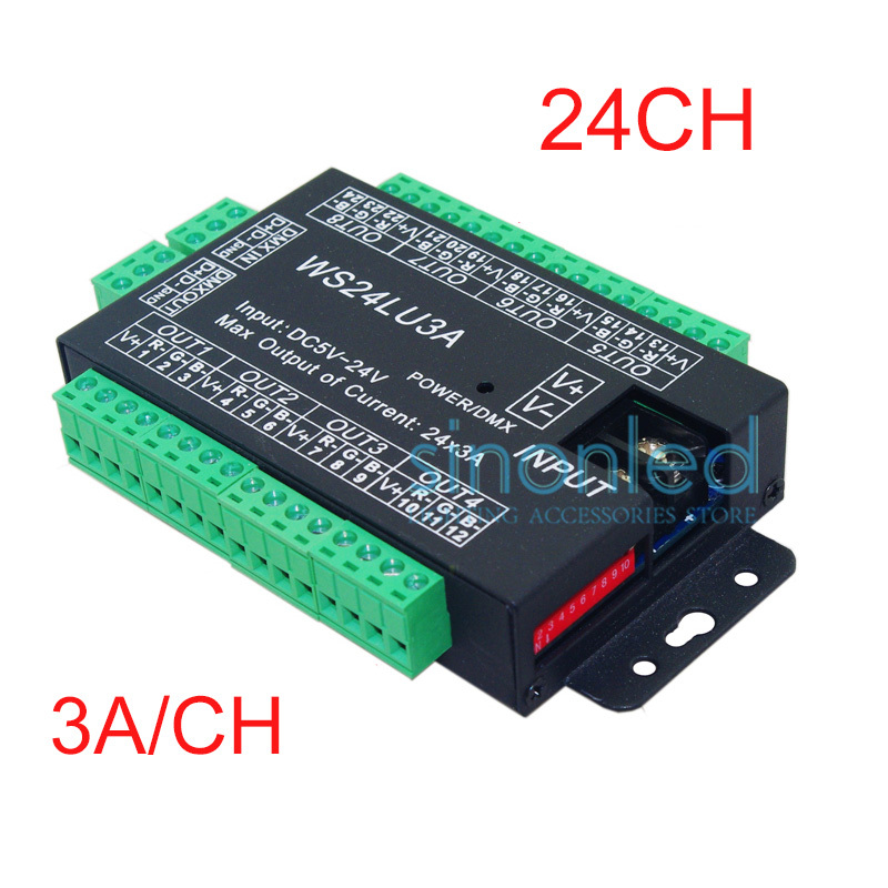 24CH Easy dmx512 DMX decoder,LED dimmer Controller, DC5V-24V,each channel Max 3A,8 groups RGB controller, Iron case fast shipping 3pcs 24ch dmx512 controller decoder ws24luled 24 channel 8groups rgb output dc5v 24v for led strip light module