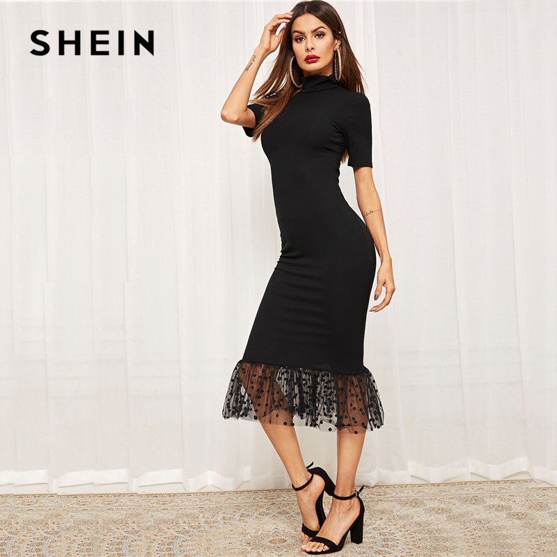 Shein Black Elegant Form Fitting Dot Mesh Dress Women's Dresses Women's Shein Collection