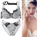 Fashion transparent sexy bra set plus size Women gauze embroidery ultra-thin underwear set lace brassiere and hollow out Panties