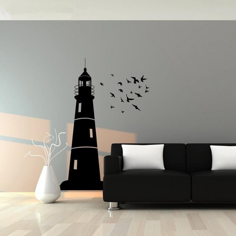 Wandtattoos Kinder Leuchtturm und Vogelschwarm nautische Vinyls Wall - Wohnkultur - Foto 2