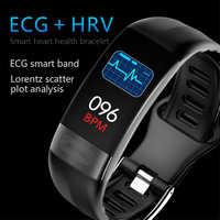 P11 pulsera inteligente deporte reloj inteligente hombres mujeres reloj inteligente ECG Bluetooth pulsera con supervisión de frecuencia cardiaca llamada mensaje Correa con recordatorio